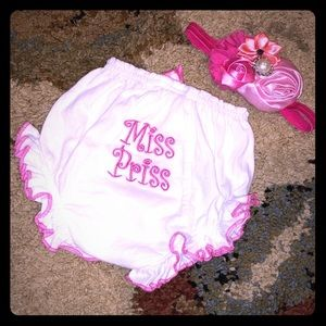 NEW Baby Miss Priss Ruffle Bloomers & Headband Set